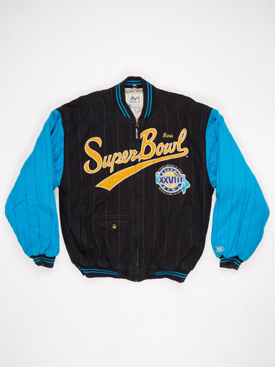1994 Superbowl Patched Cotton Zip Up Performer Varsity Jacket (signatues on the inside) Black / Blue / Yellow Size Large