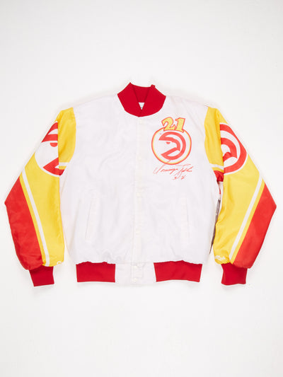 Atlanta Hawks Printed Nylon Varsity Jacket The Human Highlight Film Dominique Wilkins Reverse Print Red / White / Multi Size Medium