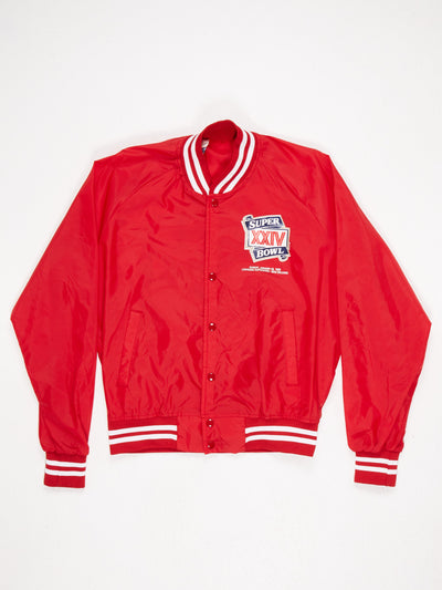 Superbowl 1990 Nylon Varsity Jacket with Printed Logos Red / Blue / White Size Large