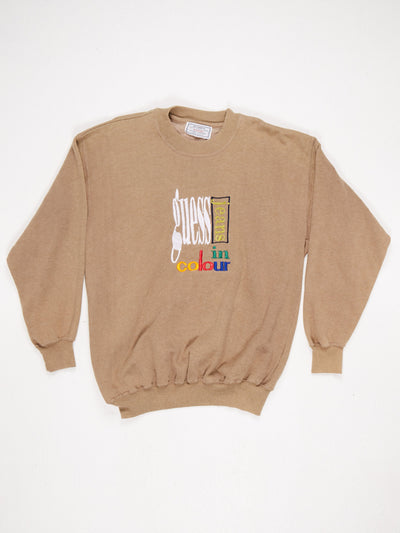 Guess 'Jeans in Colour' Embroidered Log Sweatshirt Khaki / Multi Size XL