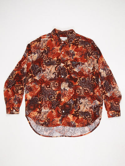 Guess Abstract Print Long Sleeve Shirt with Dip Hem Black / Brown Size Large
