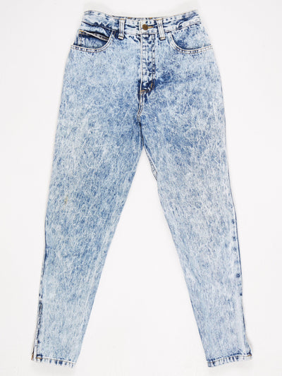Guess Acid Wash High Waisted Slim Zip Leg Jeans with Logo on Back Pocket  Blue Size 28