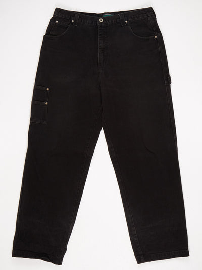 Guess Wide Leg Utility Style Jean with Patched Logo on Back Pocket Black Size 36