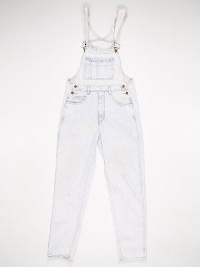 Guess Acid Wash Bib Pocket Dungarees Blue / White Size Large