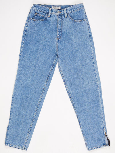 Guess Acid Wash High Waisted Slim Zip Leg Jeans with Logo on Back Pocket  Blue Size 32