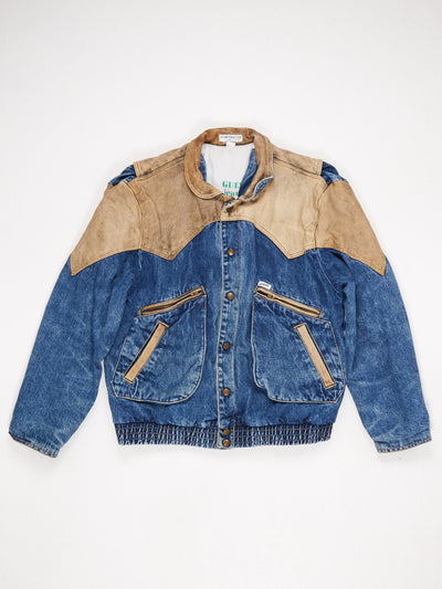 Guess Leather and Denim Bomber Style Jacket 4 Front Pockets Popper Fastening Blue / Brown Size Large