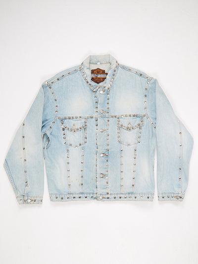 Hraley Davidson Denim Jacket with heavy stud embellishments and back 'The Eagle has Landed' Print Blue Size XL