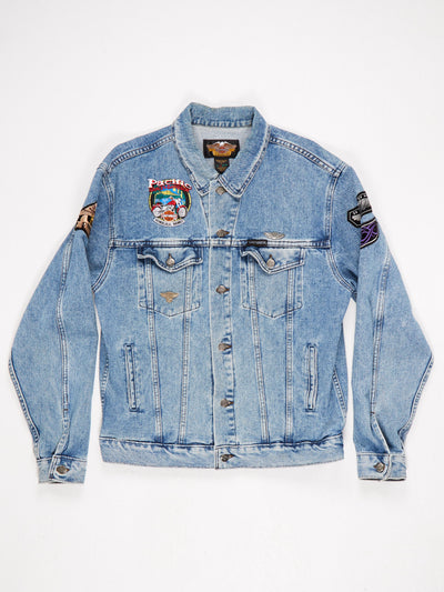 Harley Davidson Denim Jacket with Patches an d '100 Years of Great Motorcycles' Embroidery to the back Blue Size Large