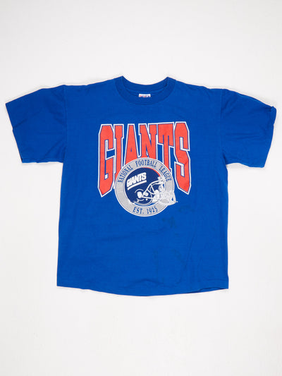 New York Giants NFL Printed T-Shirt Blue / White / Red Size XL