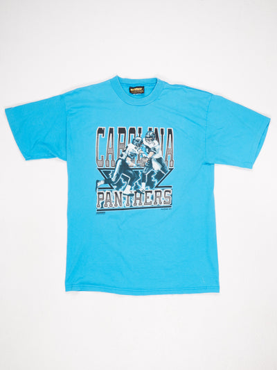 Carolina Panthers Printed T-Shirt Blue / Black / White Size XL