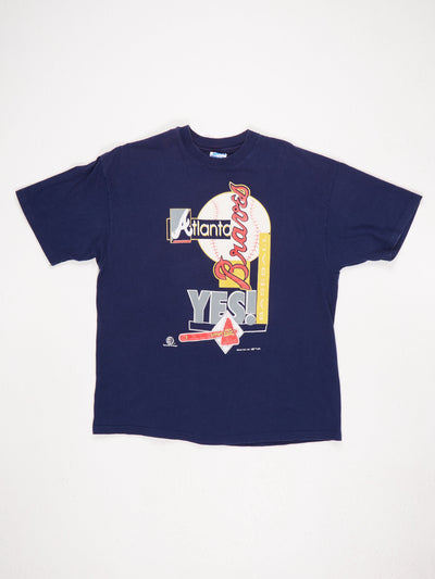 Atlanta Braves Baseball Printed T-Shirt Blue / Red / Yellow / White Size XL