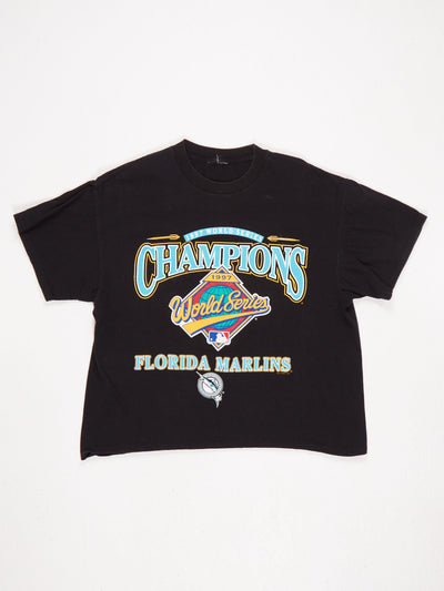 Florida Marlins 1997 World Series Champions Printed T-Shirt Black / Multi Size Medium