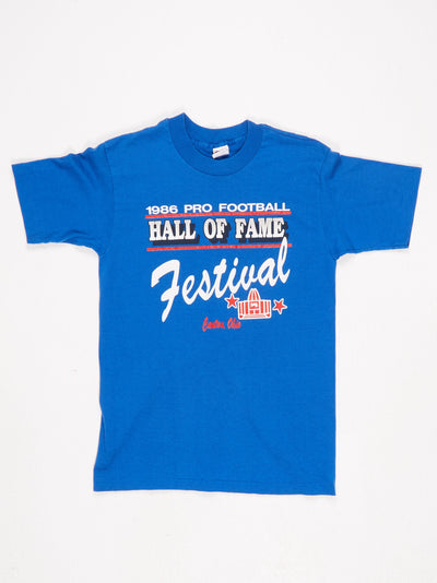 1986 Pro Football Hall of Fame Festival Printed T-Shirt Blue / Red / White Sie Medium