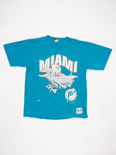 Miami Dolphins Large Logo Printed T-Shirt with Reverse Print Green / Grey / Orange Size Large