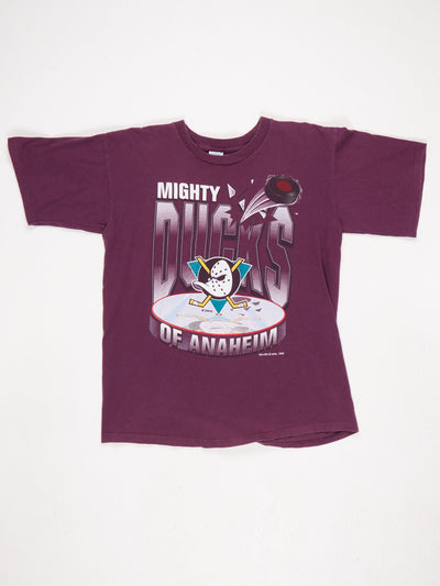 Mighty Ducks of Anaheim Large Logo Print T-Shirt Purple / Multi Size Large