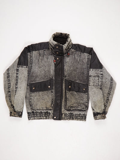 Acid Wash Cotton Bomber Jacket with Leather Patches Zip Fastening Black / Grey Size Small