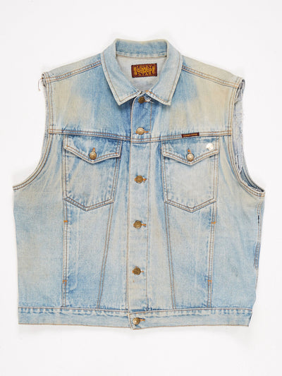 Sleeveless Denim Jacket 2 Pockets Button Fastening Multiple Patches and Embroidery 'G M ORION BODY SHOP' on the Reverse Blue / Multi Size Medium