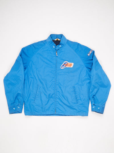 Cotton Members Only Stle Jacket Daytona 'PIT CREW' Patch on Sleeve and 'DAYTONA INTERNATIONAL SPEEDWAY' Patch on the Front Blue / White / Orange Size Large
