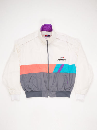 Lightweight Nylon Jacket Zip Up Ring Stripe Design 2 Pockets Ribbed Hem and Cuffs 'Team Nabisco Racing' Patch on the Front White / Multi Size XL