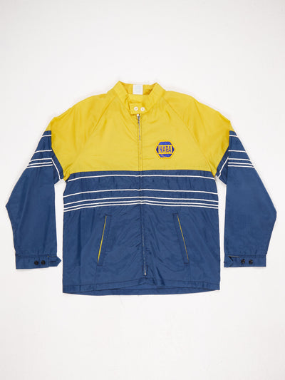 Lightweight Nylon Jacket Zip Up Buttoned Cuffs and Collar 'NAPA' Patch Colourblock Stripe Design Yellow / Blue / White Size Medium
