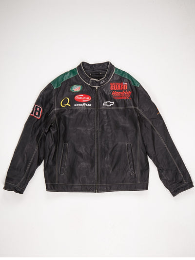 Lined Leather Racing Patch Jacket Zip Up Popper Collar Multiple Patches with Large 'National Guard' and 'AMP ENERGY' Patches on the Reverse  Contrast Stitching  Black / Multi Size XL