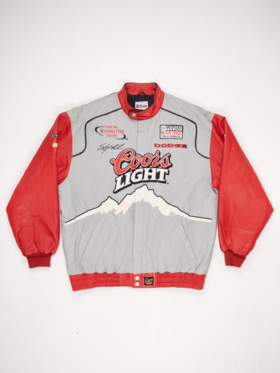 Lined Leather Racing Patch Jacket Popper Fastening Ribbed Cuffs Popper Collar and Elasticated Hem Large 'COORS LIGHT' Patch on Front and Back  Grey / Red / Black / White Size XL