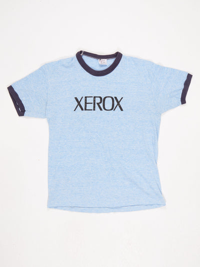 XEROX' Spell Out Ringer T-Shirt Blue / Black Size Large