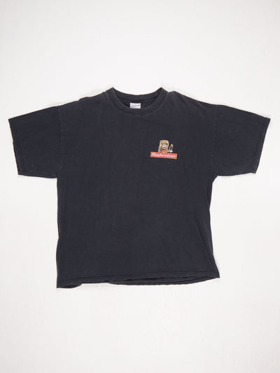 Budweiser Small Logo on Front and Large Otter/Iguana Bar Scene on Back Printed T-Shirt Black / Multi Size XL