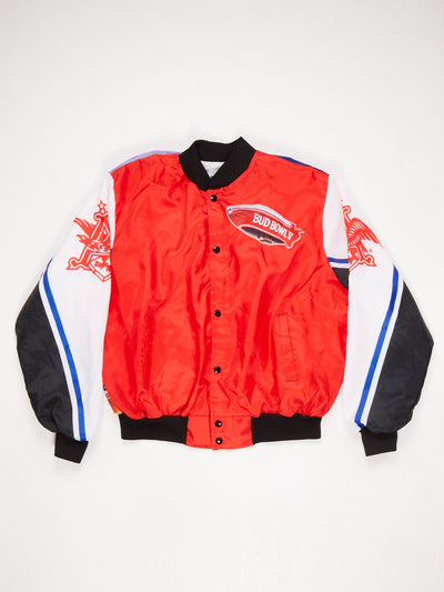 Nylon Lined Varsity Jacket with Budweiser 'Bud Bowl' Branding  Logo printed on sleeves and large Bud Bowl Scene on the back Ribbed Collar Cuffs and Hem Multi Size XL