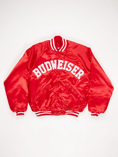 Nylon Padded Varsity Jacket with Spellout 'BUDWEISER' on Front  Ribbed Collar Cuffs and Hem Red / White Size Large