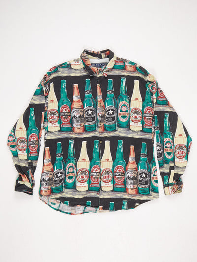 All Over Beer Bottle Print Long Sleeve Cotton Shirt Multi Size Medium