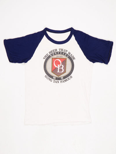 OB Lager Beer 'THE BEER THAT MADE SONG TAN FAMOUS' Printed Raglan T-Shirt Blue / White / Red Size Medium