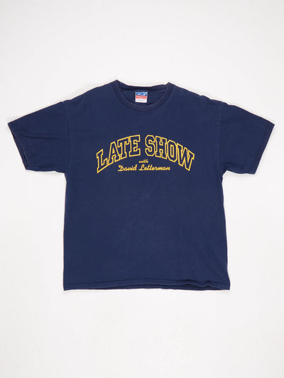 Late Show with David Letterman Printed T-Shirt Blue / Yellow Size Large