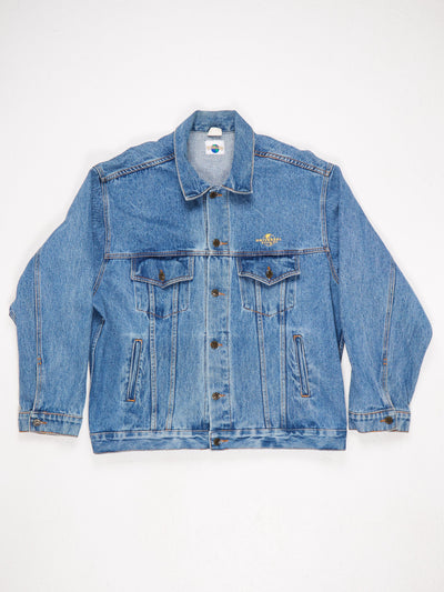 Universal Studios Denim Jacket  Small Embroidered Logo on the Front and Large Patched Logo on The Back Blue Size XL
