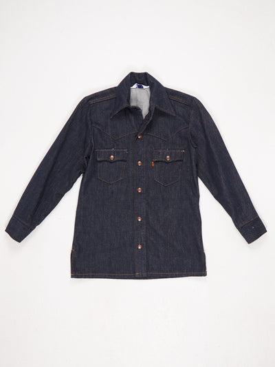 Levis Western Style Denim Shirt with Contrast Stitching Popper Fastening Blue Size Small