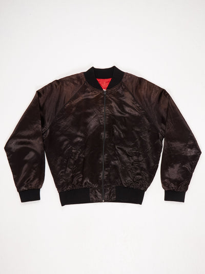 DARE Lightweight Bomber Jacket with Ribbed Hem Cuffs and Collar Embroidered 'DARE To Keep Kids Off Drugs' On the Back Black / Red / White Size XL