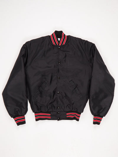 DARE Nylon Padded Varsity Jacket Ribbed Hem Cuffs and Collar 'DARE To Resist Drugs and Violence' Print on The Back Black / Red / White Size Medium