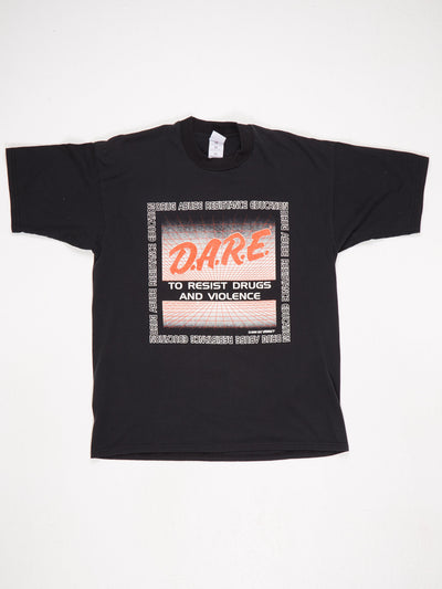 DARE To Resist Drugs and Violence Big Logo Printed T-Shirt 'Dickson Police Dept 89-99' Print onthe Back Black / Red / White Size XL
