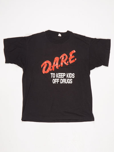 DARE To Keep Kids Off Drugs Big Logo Printed T-Shirt with 'Sponsored By Barrington Lions Club' Printed on The Back Black / Red / White Size Large