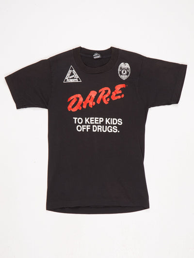 DARE To Keep Kids Off Drugs Printed T-Shirt with Aurburn Police Dept Printed Logo Black / White / Red Sze Small