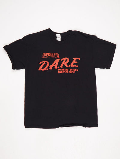 DARE To Resist Drugs and Violence 'Superhero Creamery & T-Shirt Factory' Printed T-Shirt Black / Red / White Size Large