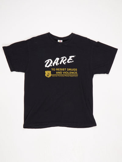 DARE To Resist Drugs and Violence Monroe Township Police Dept Printed T-Shirt Black / White / Yellow Size Large