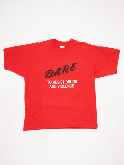 DARE To Resist Drugs and Violence Printed T-Shirt Red / Black / White Size XL