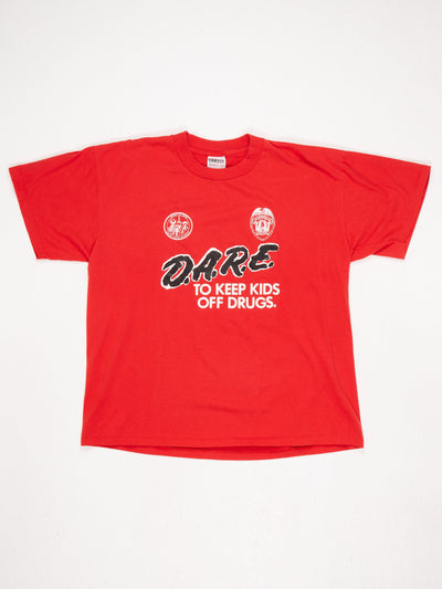DARE To Keep Kids Off Drugs Printed T-Shirt with Huntsville Police Badge Printed Red / Black / White Size XL
