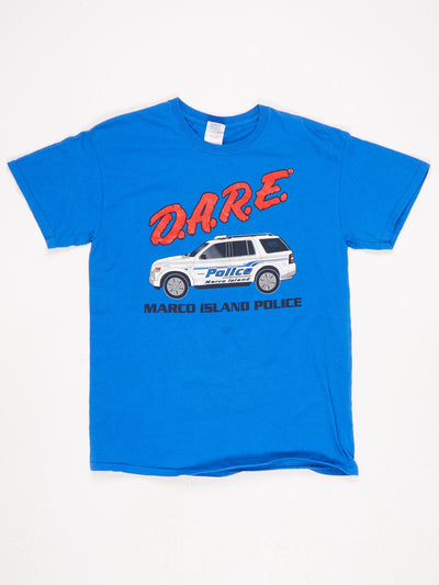 DARE Marco Island Police Printed T-Shirt with Car Logo Blue / White / Red / Black Size Medium