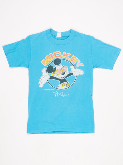 Disney Mickey Mouse Florida Spell Out Character Printed T-Shirt Blue / Black / White / Red / Yellow Size Small