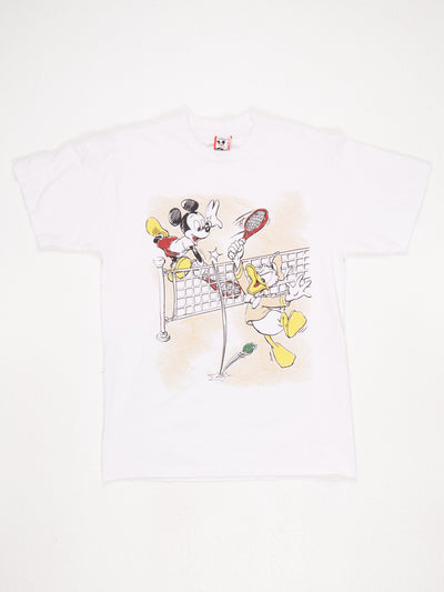 Disney Mickey Mouse and Donald Duck Tennis Scene Print T-Shirt  White / Black / Red / Yellow Size Large
