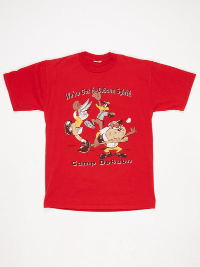 Looney Tunes Baseball Character Print T-Shirt Red / Multi Size Medium