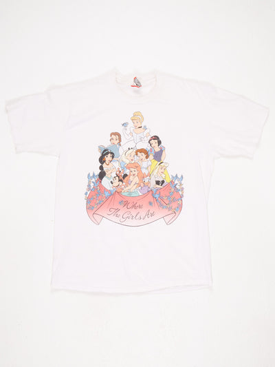Disney Princess 'Where The Girls Are' Printed T-Shirt White / Multi Size Large