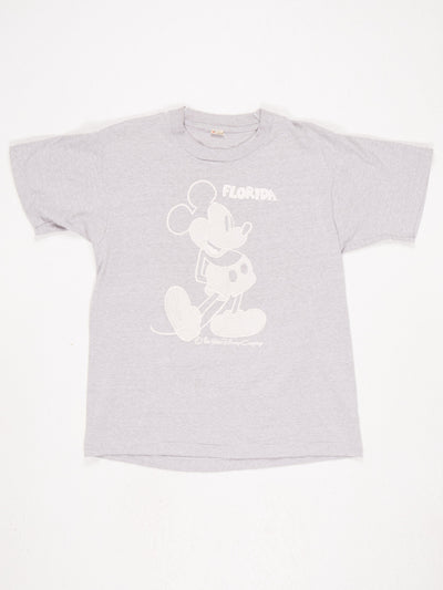 Disney Mickey Mouse Character Florida Print T-Shirt Grey / White Size Large